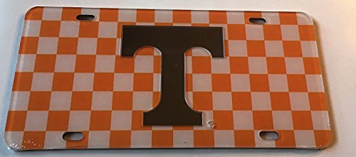 Checkerboard Orange White Tennessee Volunteers Mirrored Car Tag - Vols Checker License Plate by The Sports Fan Store