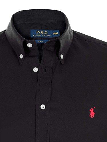 Chemise Ralph Lauren Homme - Couleur Noire Logo Rouge - Coupe Slim Fit Ajustée - Manches Longues 100% Coton