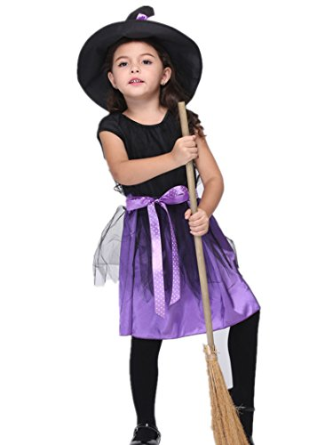 Girls Witchy Witch Costumes (C.X Trendy Girl's Classic Witchy Witch Child Costume for Halloween (S(2-4), Purple))