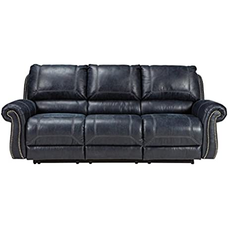 Ashley Furniture Signature Design Milhaven Faux Leather Upholstered Manual Reclining Sofa Contemporary Navy