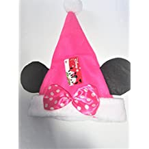 Disney Plush Minnie Mouse Ears Pink Christmas Santa Claus Hat- Child Size