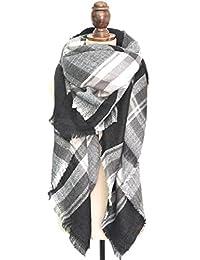 Wenseny Womens Scarves Wrap Classic Large Plaid Winter Warm Square Long Scarf Black Grey White