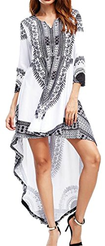 Irregular Cromoncent Low Sleeve Womens Printed White Dresses 4 High Africa 3 qCUw8gFq