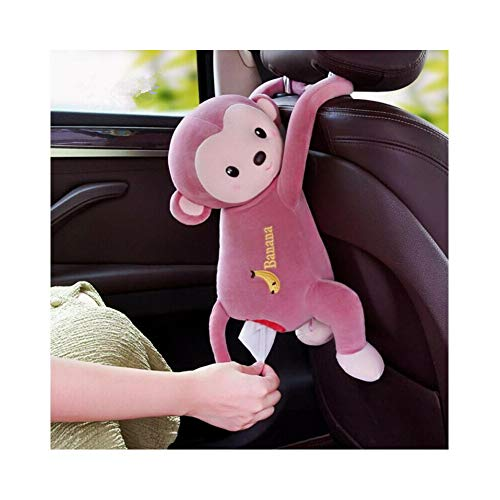 AMILIEe Creative Tissue Box Cover, Lovely Monkey Home Office Car Auto Automobile Tissue Boxes Cover Napkin Paper Towel Holders Cases Car Organization (Bean Paste, 1)