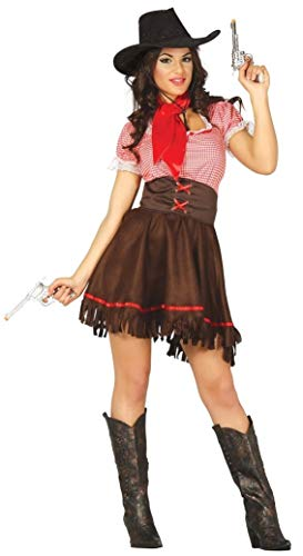 Ladies Sexy Cowgirl Cutie Rodeo Western Wild West Cowboys and Indians Fancy Dress Costume Outfit ... (UK 12-14) Brown -