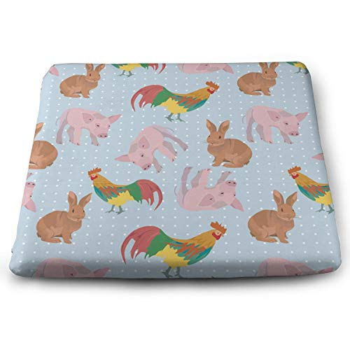 - Youbah-01 Indoor/Outdoor Square Chair Pad with Rooster Pig Pattern Printed Floor Mat Cushion