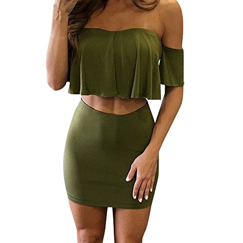 Caopixx Women Two Pieces, Off Shoulder 2 Pieces Outfits Ruffles Bodycon Top Party Clubwear Mini Skirt Set