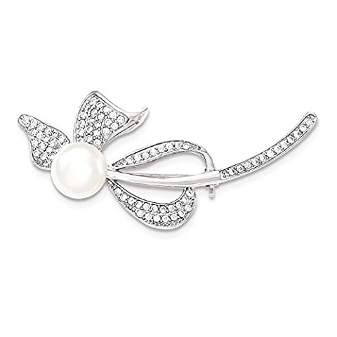 Sterling Silver 9-10mm White Freshwater Cultured Pearl CZ Bow Brooch - Sterling Silver Bow Brooch