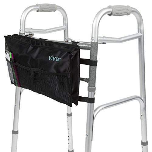 Walker Bag by Vive - Accessory Tote Caddy Provides Hands Free Storage - Walker Attachment Fits Most Wide and Narrow Styles - Elderly Senior & Disabled, - Karen Walkers