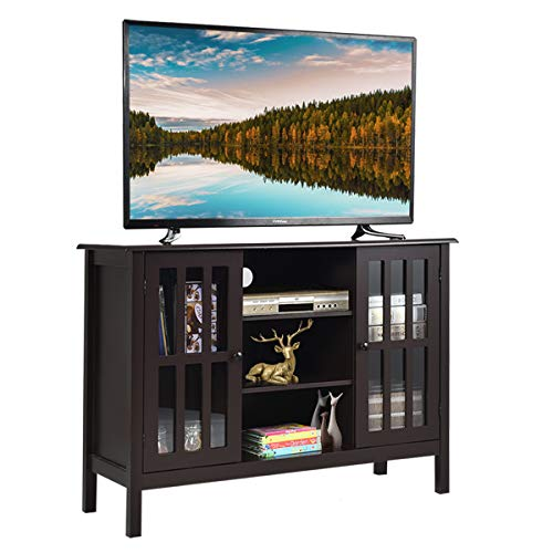 Amazon.com: Tangkula TV Stand, Classic Design Wood Storage