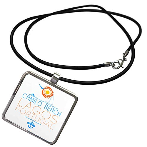 (3dRose Alexis Design - Beaches of The World - Camilo Beach, Lagos, Portugal. Elegant Text, Images. Summer Joy - Necklace with Rectangle Pendant (ncl_311576_1) )