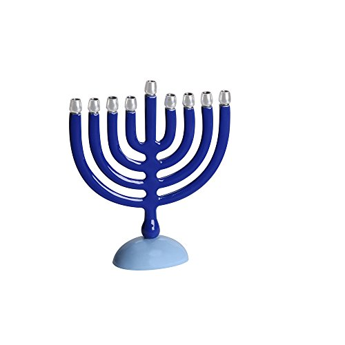 Israel Giftware Designs Aluminum Blue Menorah with Bright Aluminum Candle Cup Holders-Small by Israel Giftware Designs
