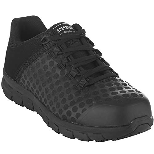 EVER BOOTS Steel Toe Men's Safety Work Industrial and Construction Shoe Slip Resistant (8 D(M), Black)