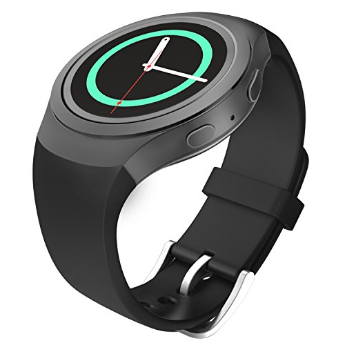 Gear S2 Watch Band, MoKo Soft Silicone Replacement Sport Band for Samsung Gear S2 (SM-R720 / SM-R730 ONLY) Smart Watch, NOT FIT S2 Classic Watch (SM-R732 & SM-R735), NOT FIT Gear Fit2 Watch, BLACK