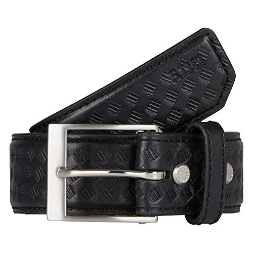 5.11 Tactical 1.5-Inch Basketweave Leather Belt, Black, Small