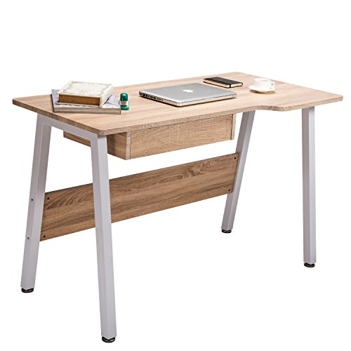 TOPSKY Home Office Desk Stylish Design Wooden Study Desk Dressing Table with Drawer (OAK) Oak Office Table