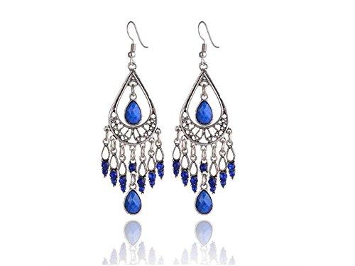 Sunnyshinee - Pendientes de gota para mujer, diseñ o bohemio, color azul diseño bohemio