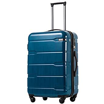 Coolife Luggage Expandable Suitcase PC+ABS Spinner 20in 24in 28in Carry on (Caribbean Blue, S(20in).)
