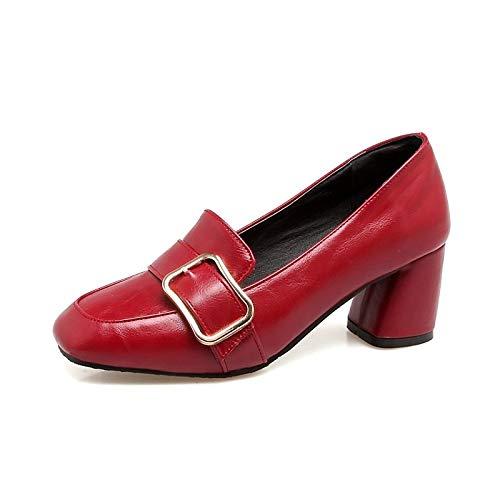 Comfort Beige amp; QOIQNLSN Chunky Heels Spring Pu Wine Heel Brown Women'S Wine Shoes Polyurethane Dark Summer xqPrwq0apn