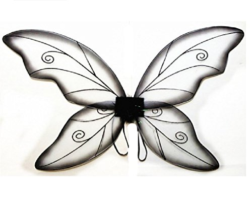 Pixie Wings Costumes (Costume Fairy Wings - Large (34in) Pixie Princess Dress up Wings By Cutie Collection (Adult, Black))