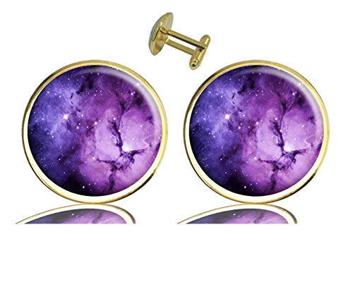 - ecowcow Custom Classic Jewelry Tuxedo Shirt Gold Cufflinks Men's Unique Business Wedding Gifts (Nebula Galaxy Purple)
