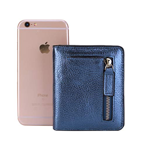 Leather Itslife Purse Compact Window Pocket Rfid Gold With Wallet Blocking Mini Ladies Blue Id Women's Pebbled Small Bifold rHPHwcqfYx