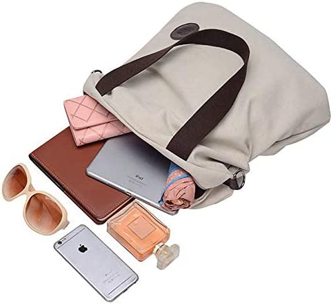 女性のキャンバスのショルダーバッグビンテージトートのハンドバッグの容量のショッピングクロスボディバッグ YZUEYT