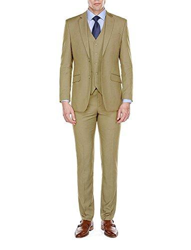 JYDress Mens Suit Slim Fit Formal Business 3-Piece Wedding Suit Notch Lapel Jacket Vest Trousers Tan