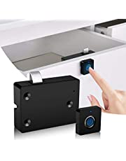 Fingerprint Lock Electronic Cabinet Door Locks, Smart Biometric Hidden File Cabinet Lock Kit Replacement, USB Rechargeable Keyless Furniture Drawer Lock for Cabinets, Suitable for Home & Office
