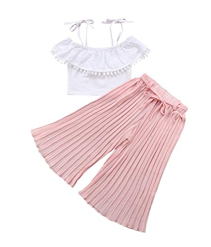 (1-6T Baby Girl Pleated Wide Leg Palazzo Pants Outfits Halter Straps Off Shoulder Floral Vest Tops 2pcs Fall Outfit (Pink, 4-5)