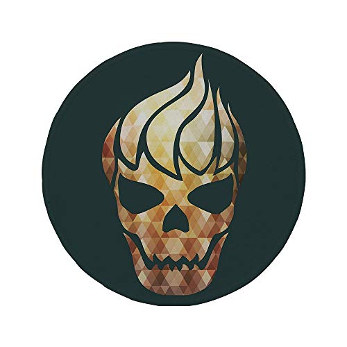 Non-Slip Rubber Round Mouse Pad,Modern,Gothic Skull with Fractal Effects in Fire Evil Halloween Concept,Yellow Light Caramel Dark Grey,7.87