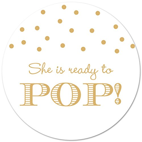40 Ready To Pop Baby Shower Stickers (Gold on White)