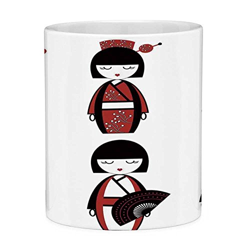 Funny Coffee Mug with Quote Girls 11 Ounces Funny Coffee Mug Unique Asian Geisha Dolls in Folkloric Costumes Outfits Hair Sticks Kimono Art Image Black -