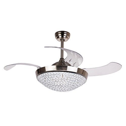 Ceiling Fan Light Kit Remote Control 46 Inch Modern Dimmable LED Ceiling Fan with Retractable Blades Crystal Chandelier Fan, Replaceable 4000K Cool White Lights, Chrome Finished ()