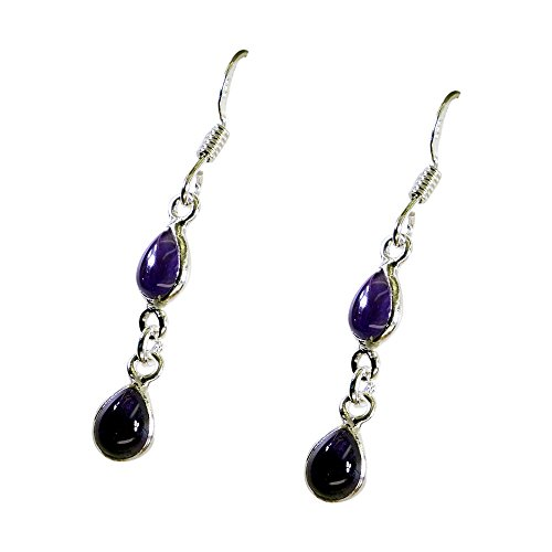 Gemsonclick Natural Amethyst Earrings For Woman Sterling Silver Pear Shape Fish Hook February Birthstone