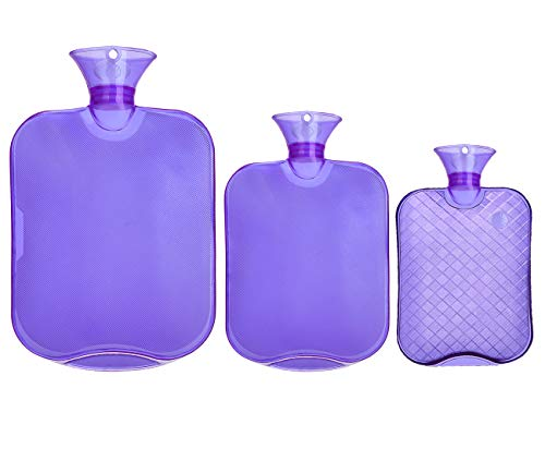 Attmu 3 Pack Classic Rubber Transparent Hot Water Bottles for 3 Different Sizes, 2 Liter, 1 Liter and 0.5 Liter - Purple (Home Remedies For Cold Sores In Your Mouth)