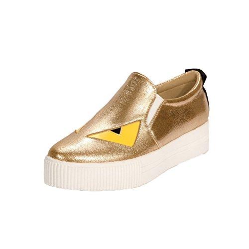 Amoonyfashion Damesmengeling Materialen Lage Hakken Cartoon Patroon Pumps-schoenen Goud