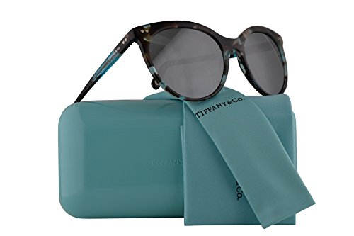 Tiffany & Co. TF4141 Sunglasses Havana Blue Silver w/Grey Mirror Silver Lens 55mm 82376G TF4141 Tiffany&Co. TF 4141 TF - Frames Ophthalmic Tiffany