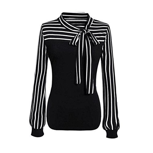 Kangma Women Tie-Bow Neck Striped Long Sleeve Splicing Business Shirt Blouse Black