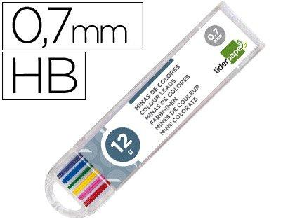 Liderpapel 52402 Etui de 12 mines effaçables 0.7 mm couleur pour Porte-mines et Critérium