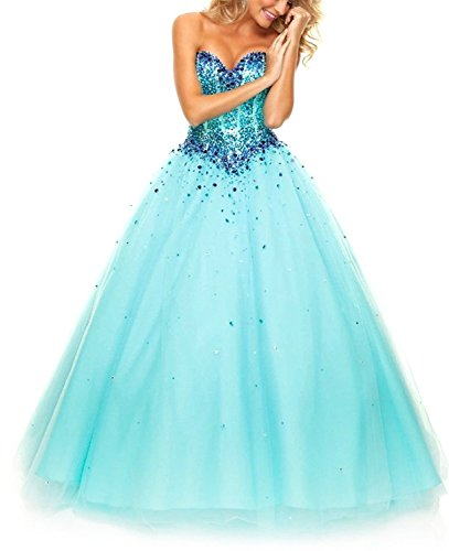 Lacemarry Sweetheart A-line Beading Sequin Tulle Long Prom Dress/ball Gown (20w, Blue)