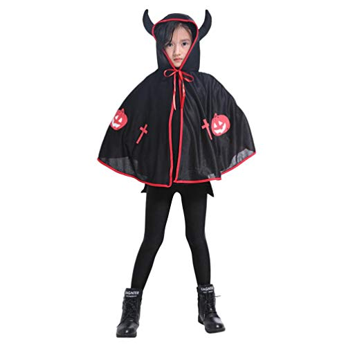 CZYCO Alloween Christmas Cosplay Costume-Kids Adult Children Halloween Baby Costume Ox Horn Cloak Cape Robe ... (Black) -