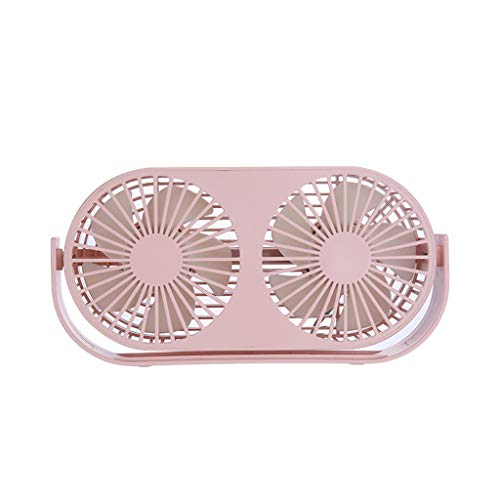 Portable Fan Two Air Outlets USB Rechargeable Computer Phone Cooler for Man Student ()