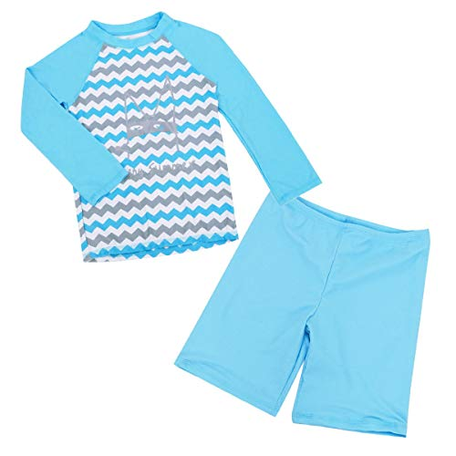 (Happy Cherry Girls Two Piece Swimsuit Kiteboarding Quick Drying Breathable Striped Long Sleeve Sunsuit 5-6T Blue/Grey)