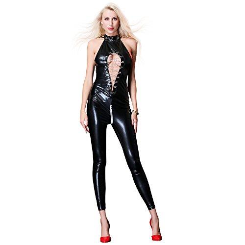Ladies Sexy Black PVC Spandex Shiny Catsuit Costume Fashion Sexy Women Leather Bodysuit Hollow Lingerie Jumpsuit Party Clubwear,Black,XXL