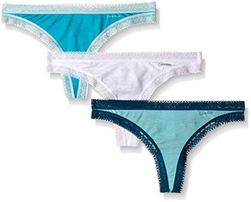- Calvin Klein Women's 3 Pack Flourish Thong Panty, Blue/Multi, Medium