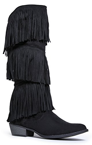 Fringe Knee High Boot - Layered Western Wood Heel Shoe - Low Heel Cowboy Boot