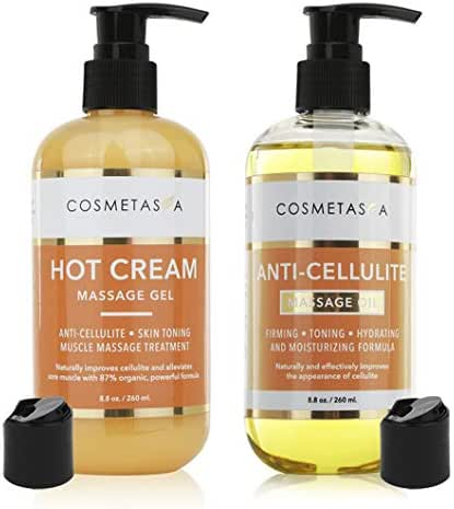 Anti Cellulite Massage Oil & Hot Cream Massage Gel- 100% Natural Cellulite Treatment, Deeply Penetrates Skin to Break Down Fat Tissue- Firms, Tones, Tightens & Moisturizes Skin- Muscle Pain Relief