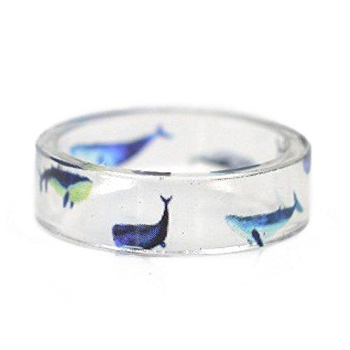 New Arrival Handmade Sea World Dolphin & Shark Transparent Resin/Plastic Women/Girl's Charm Ring (17mm/US#6.5) -