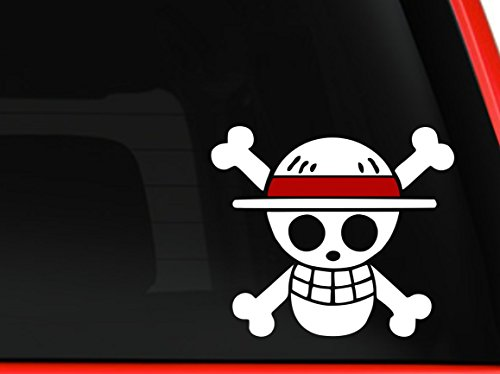 One Piece Luffy Flag White and Red Sticker Decal Pirate Cartoon Anime White Car Window Wall Macbook Notebook Laptop Sticker Decal
